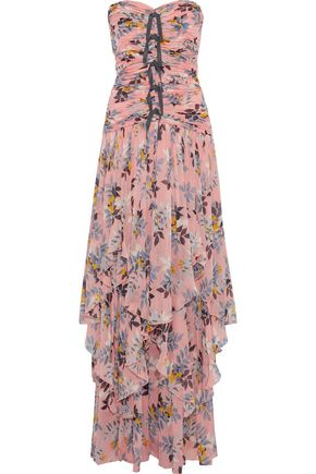 CINQ À SEPT Emira strapless ruched floral-print silk-georgette gown