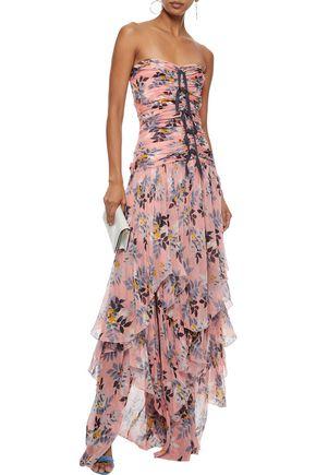 CINQ À SEPT Emira strapless ruched floral-print silk-georgette gown