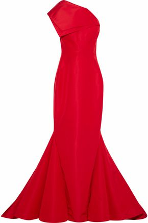 ZAC POSEN One-shoulder fluted silk-faille gown