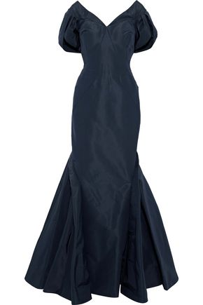ZAC POSEN Fluted gathered silk-faille gown