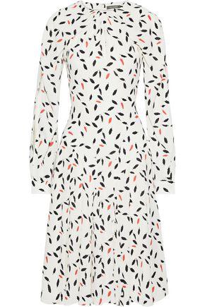 ZAC POSEN Gathered printed crepe dress