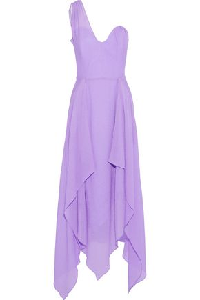 ROLAND MOURET Felcourt one-shoulder asymmetric silk-crepe gown