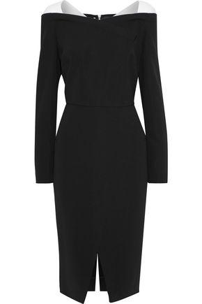 ROLAND MOURET Accrington two-tone crepe dress
