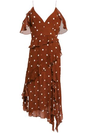 NICHOLAS Cold-shoulder ruffled polka-dot silk-chiffon midi dress