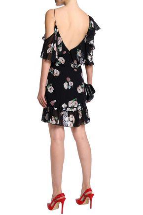 NICHOLAS Cold-shoulder ruffled printed silk-blend mini dress