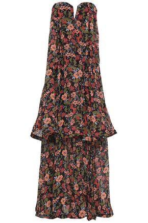 NICHOLAS Strapless tiered floral-print silk maxi dress