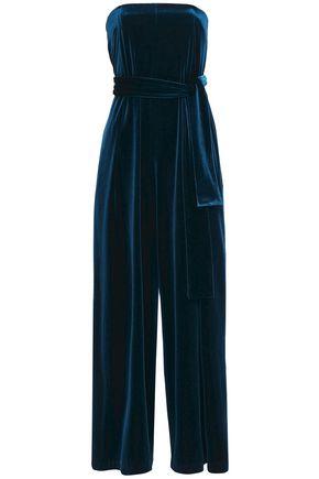 NICHOLAS Strapless belted velvet jumpsuit