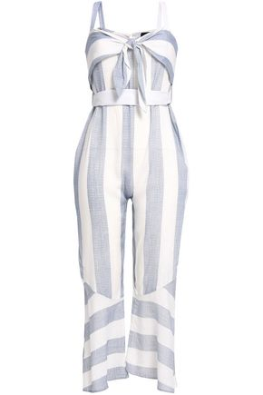 NICHOLAS Tie-front striped cotton-mousseline jumpsuit