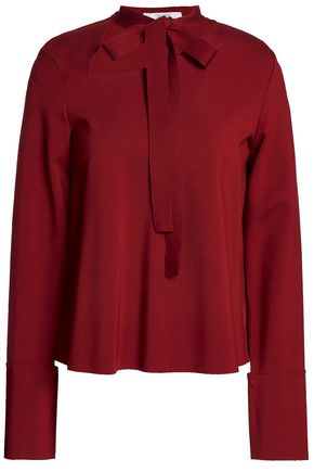 HOUSE OF DAGMAR Imelda pussy-bow cutout cady blouse
