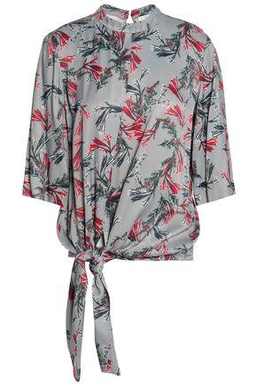 HOUSE OF DAGMAR Vida tie-front floral-print crepe de chine blouse