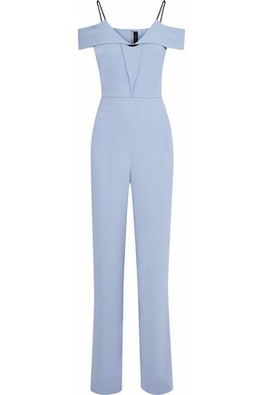 ROLAND MOURET Corsham cold-shoulder crepe jumpsuit