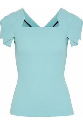 ROLAND MOURET Darfield pleated wool-crepe top