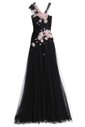 MARCHESA Feather-embellished floral-appliquéd tulle gown