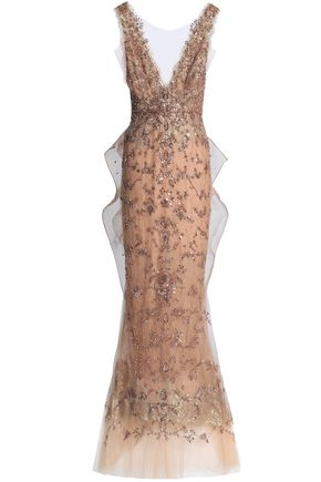 MARCHESA Embellished lace and tulle gown