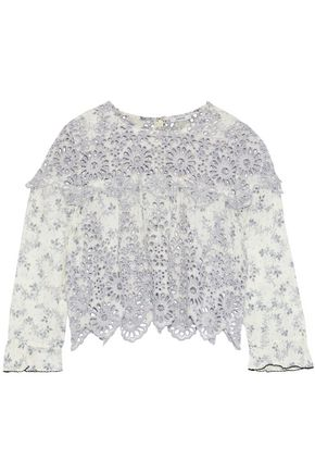 GANNI Emile printed broderie anglaise blouse