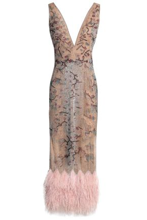 MARCHESA Embellished tulle midi dress