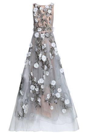 MARCHESA Embellished tulle gown