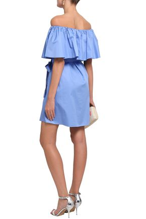 NICHOLAS Off-the-shoulder cotton-poplin mini dress