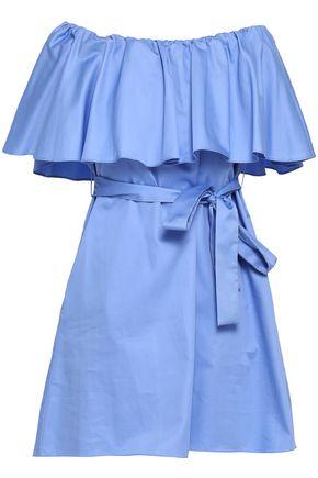 NICHOLAS Off-the-shoulder cotton-poplin mini dress