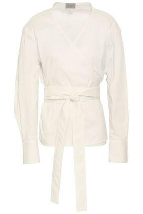 GREY JASON WU Stretch-cotton poplin wrap top