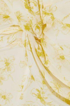 CINQ À SEPT Jamie twist-front floral-print silk crepe de chine dress