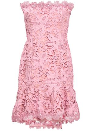 NICHOLAS Strapless guipure lace mini dress