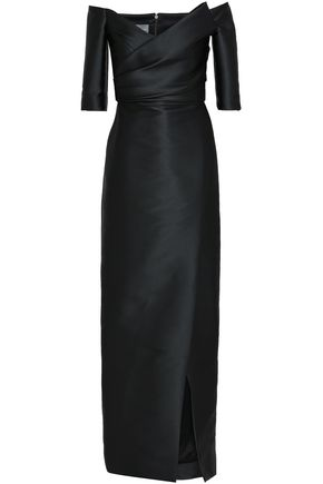 MONIQUE LHUILLIER Off-the-shoulder ruched satin gown
