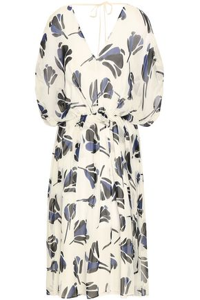 GREY JASON WU Gathered printed silk crepe de chine midi dress