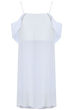 NICHOLAS Cold-shoulder plissé georgette and crepe tunic