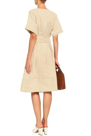 GREY JASON WU Tie-front striped poplin shirt dress
