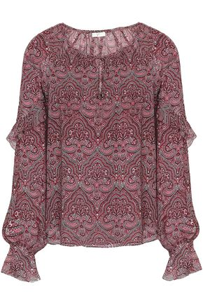 JOIE Agenta ruffle-trimmed printed silk-chiffon blouse