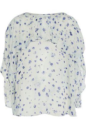 IRO Draped floral-print chiffon blouse