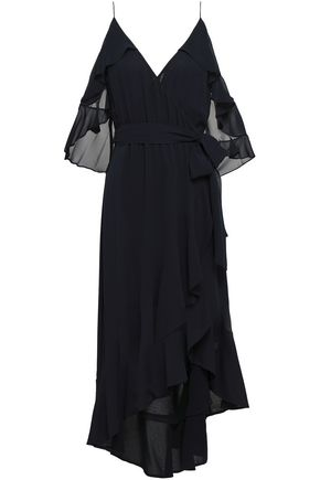NICHOLAS Cold-shoulder wrap-effect ruffled silk-georgette dress
