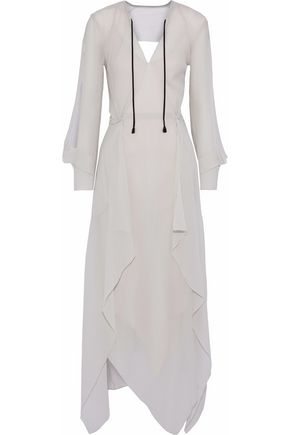 ROLAND MOURET Austonley open-back silk-crepe maxi dress