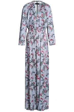 HOUSE OF DAGMAR Vara cutout floral-print crepe de chine maxi dress