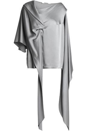 CHALAYAN Cape-effect draped satin-crepe blouse