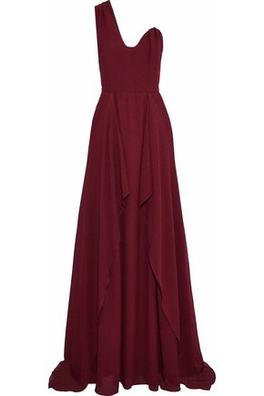 ROLAND MOURET Kimberworth one-shoulder crinkled silk-crepe gown