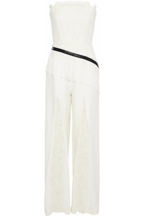 ROLAND MOURET Givendale strapless cotton-blend and crepe jumpsuit