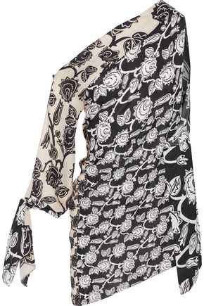 ROLAND MOURET Hatfield one-shoulder printed silk crepe de chine top