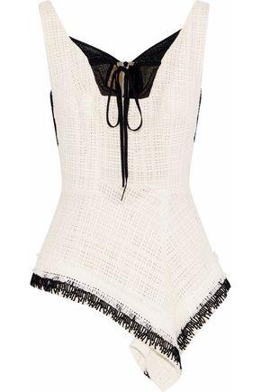ROLAND MOURET Cottingham gauze-trimmed cotton-tweed peplum top