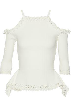 ROLAND MOURET Asenby cold-shoulder scalloped stretch-knit top