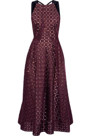 ROLAND MOURET Baldry paneled cutout cotton and silk-blend midi dress