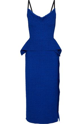 ROLAND MOURET Wantage lace-paneled embroidered cotton-blend midi peplum dress