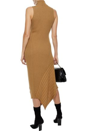 VEDA Michelle asymmetric ribbed cotton-blend midi dress