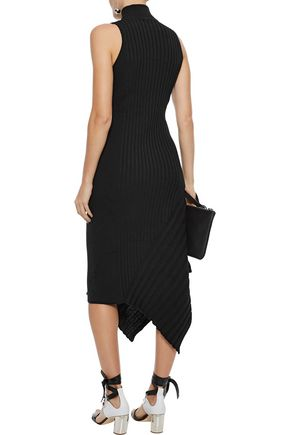 VEDA Michelle asymmetric ribbed cotton-blend midi dress