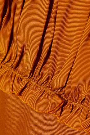 CINQ À SEPT Ilana shirred faille midi dress