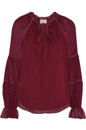 CINQ À SEPT Romy bow-embellished gathered silk-georgette blouse
