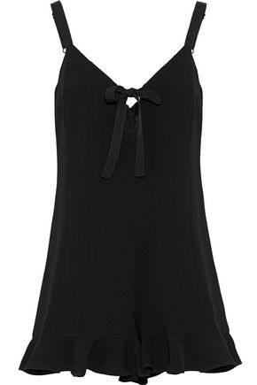 CINQ À SEPT Audrey ruffle-trimmed bow-detailed crepe playsuit