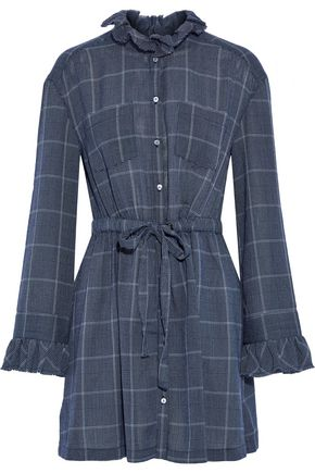 CINQ À SEPT Dana checked gauze mini shirt dress