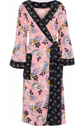 CINQ À SEPT Camellia printed silk crepe de chine wrap midi dress
